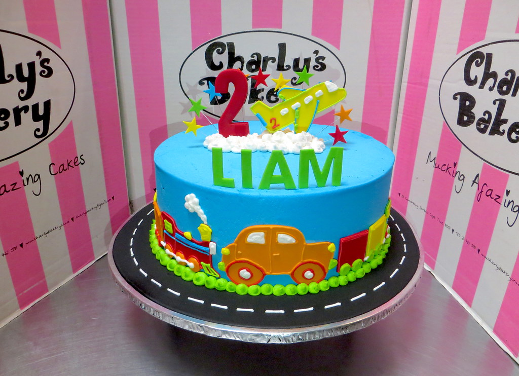 Prime Trains Planes Automobiles Cars Themed 2Nd Birthday Cake A Personalised Birthday Cards Veneteletsinfo