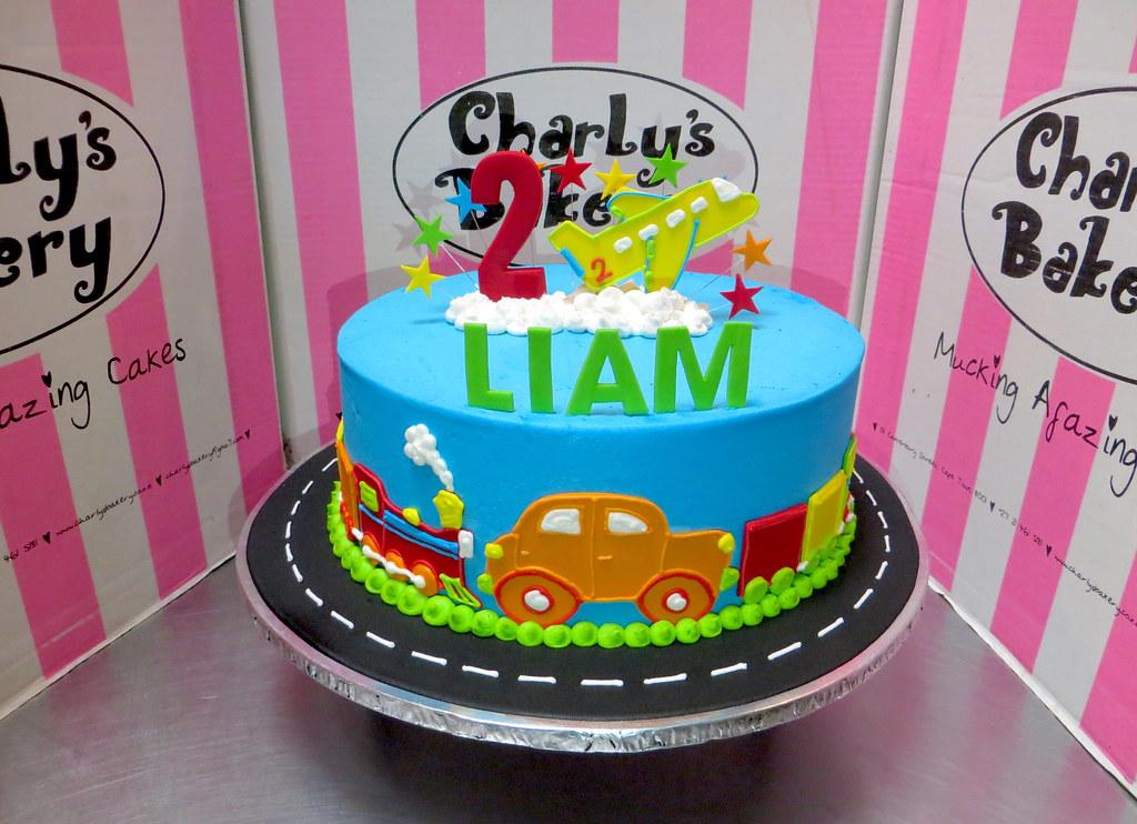 Admirable Trains Planes Automobiles Cars Themed 2Nd Birthday Cake A Funny Birthday Cards Online Inifodamsfinfo