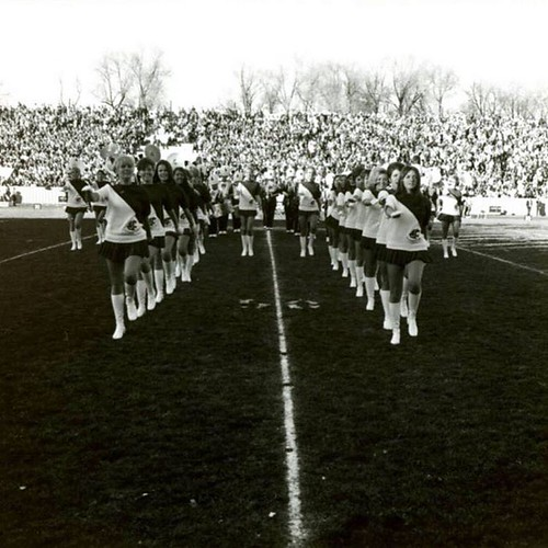 It's #ThrowbackThursday. Look at the #WSU Cougarettes drill team on the football field in 1969! #TBT #GoCougs