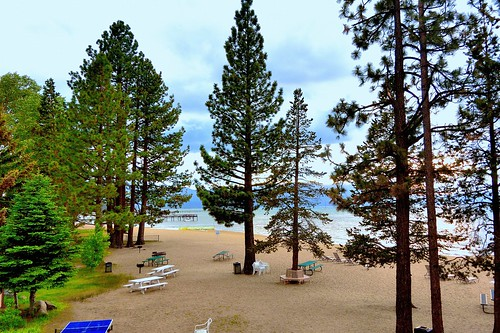 california lake beach sand view chairs laketahoe alpine pinetrees picnictables southlaketahoe viewfrombalcony pingpongtable joelach