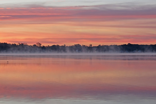 morning sky orange sun lake reflection fall water fog clouds sunrise october michigan steam today