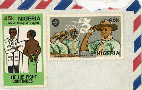 nigeria stamps tb patient being x-rayed 75th anniversary of scouting baden powell 45k