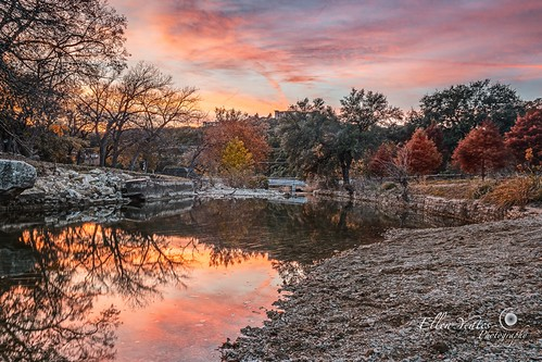 park bridge sunset sky orange usa lake reflection water austin landscape photography colorful december texas unitedstates outdoor picture samsung foliage serene foilage bullcreek aftersunset 2015 mirrorless bullcreekdistrictpark ellenyeates ellenyeatesphotography