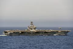 An E2-D Hawkeye from VAW-121 preforms a touch and go on USS Nimitz (CVN 68), Oct. 19. (U.S. Navy/PO2 Siobhana R. McEwen)