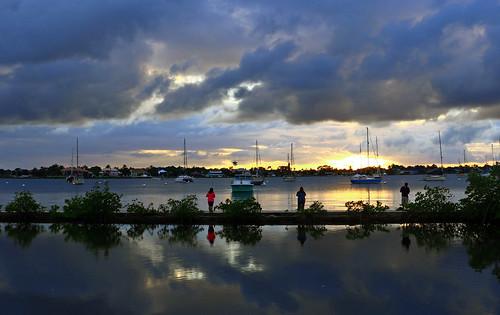 sunset sun fish river fishing fishermen florida stuart stormclouds stlucie shepardpark