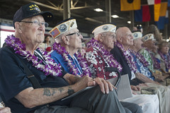 WWII veterans look on during today's Pearl Harbor Remembrance ceremony at Joint Base Pearl Harbor-Hickam. (U.S. Air Force/Staff Sgt. Christopher Hubenthal)