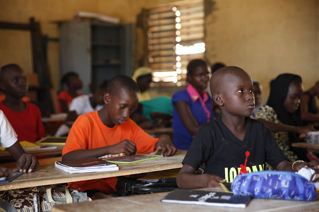 A pupil listens attentively in a class at L'Ecole PAC in Dakar, Senegal, where fully-sighted children and those with visual impairments work together.