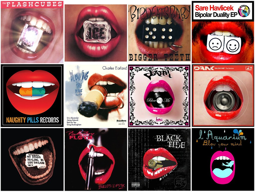 12 Album Covers with objects between lips   Found in the ...