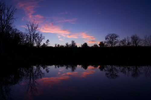 belviderespencerpark park pond lake evening sunset sky dusk trees shoreline clouds water reflection serene mirror resonance belvidere silhouette