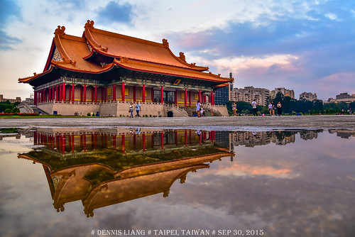 sunset reflection rain architecture theatre dusk chinese taiwan taipei