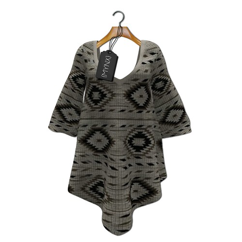 {MYNX} Sweater Poncho - Brown Aztec