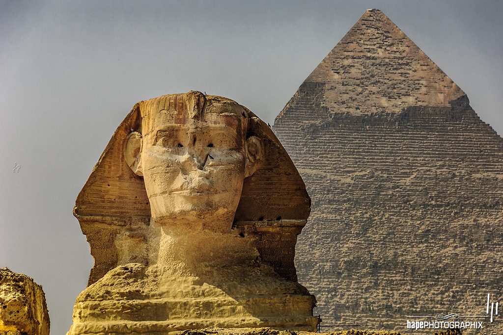 Great Sphinx of Giza with Pyramid of Khafre