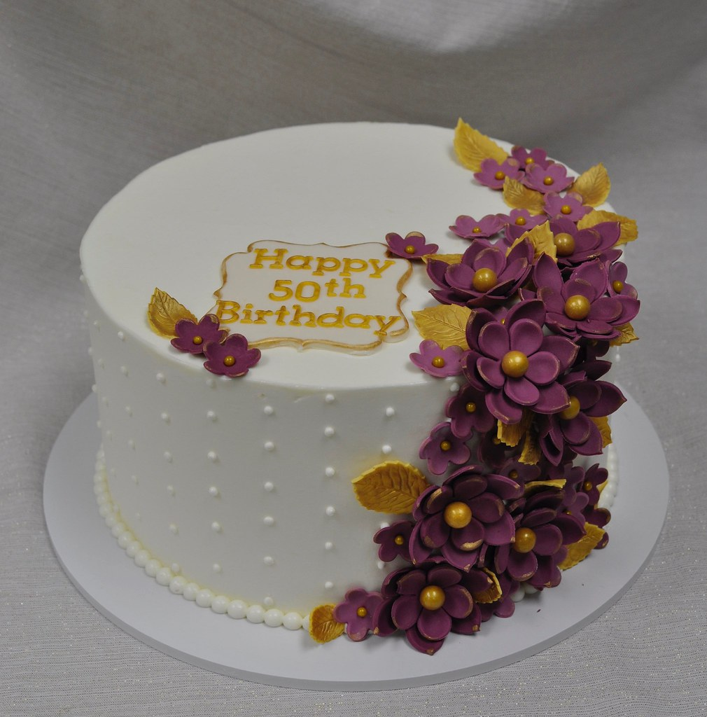 Super Floral 50Th Birthday Cake Simple Swiss Meringue Buttercrea Flickr Funny Birthday Cards Online Alyptdamsfinfo