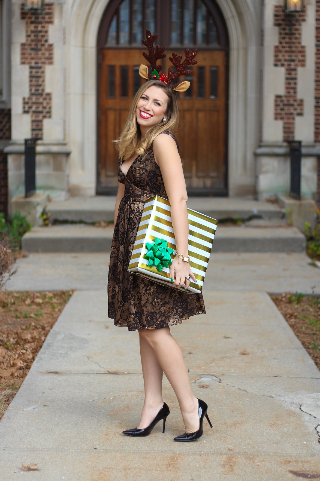 Black & Gold Lace Holiday Dress | Reindeer Ears | Christmas Presents | A Look Back at 10 Years of Blogging Living After Midnite Blogger Jackie Giardina