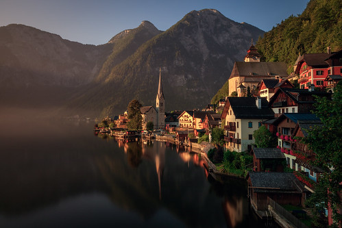 hallstatt morning landscape church hallstättersee mist village city cityscape sunrise europe fog austria hallstã¤ttersee oberã¶sterreich at