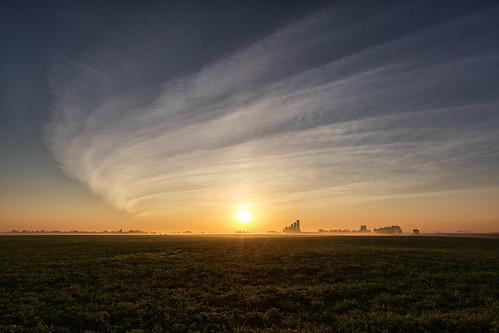 markheine barn cirrus clouds countryroad farm field flare fog mist silos sky sun sunrise westmontrose ontario canada ca