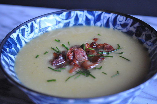 Potato-Leek Soup topped with Chopped Bacon and Chives | by twoyoungladies