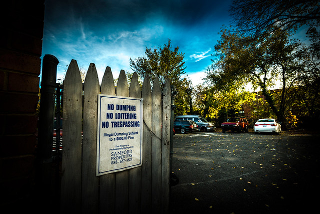 Photo of a sign at the Congress Heights property that says