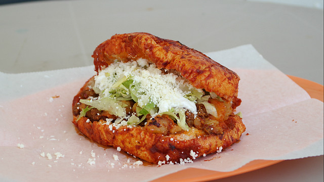 Pambazo from Antojitos Mexicanos Taco Truck in Des Moines, Iowa.