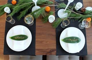 Christmas Leaf Name.Holiday Christmas Table Decoration Setting Caligraphy Leaf