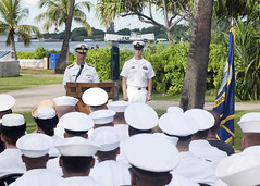 Chief of Naval Operations (CNO) Adm. John Richardson speaks to U.S. Navy Sailors and attendees during an Honors and Heritage ceremony celebrating the Navy's 240th birthday at the Pearl Harbor Visitor Center. (U.S. Navy/MC2 Jeff Troutman)