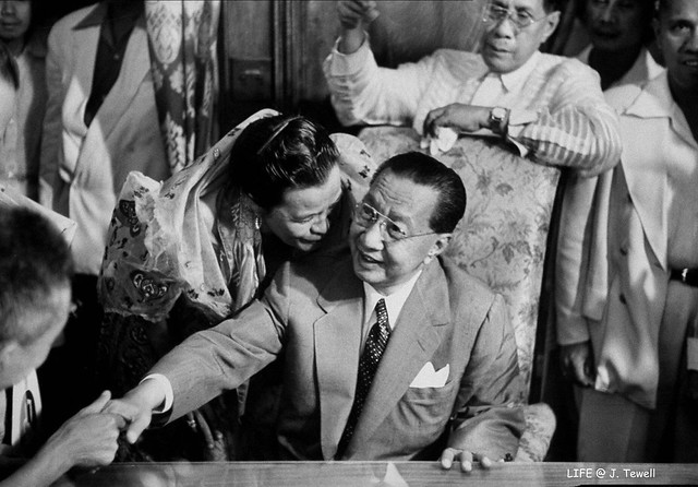 Elpidio Quirino after a speech during the Presidential campaign, Manila, Philippines, 1953