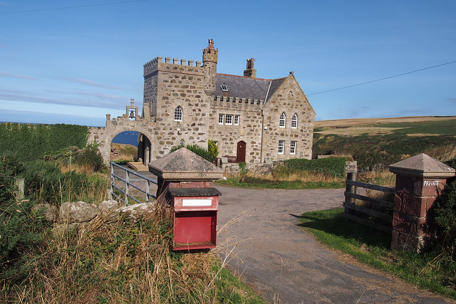 Modern house in front of Dundard Castle