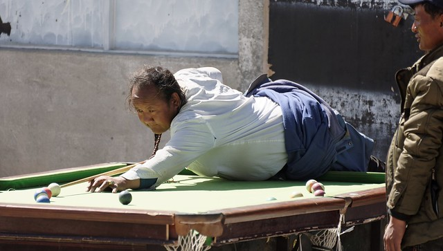 Tibetans love to play pool in the open air, Tibet 2015