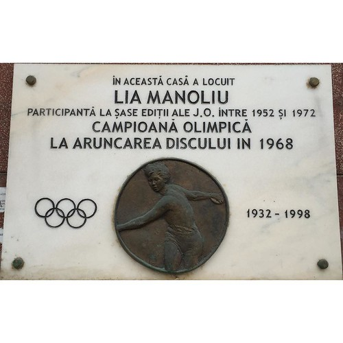 Memorial placque in memory of Lia Manoliu, the first track and field athlete to compete at six Olympics ( 1952-1972 ). Winner of gold medal 1968 discus throw and other two bronze medals | by ciaobucarest
