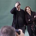 Viv Albertine and Ian Rankin | Viv Albertine and Ian Rankin pose for the press on the Book Festival's green carpet © Helen Jones
