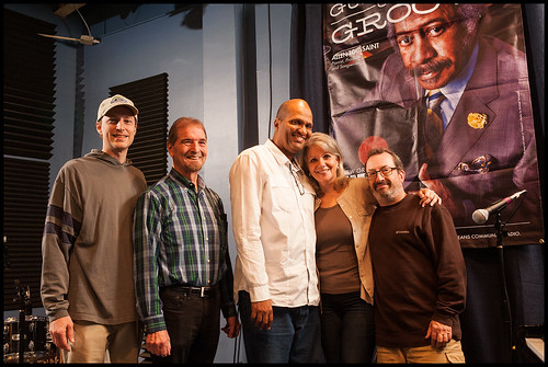 Tom Chute, Al Bernard, Mike Torregano, with WWOZ's Sally Young and Ron Phillips at WWOZ Fall Fund Drive 2015 day 10. Photo by Ryan Hodgson-Rigsbee - www.rhrPhoto.com