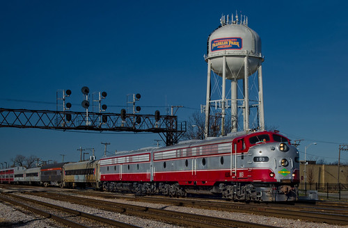 old autumn red urban history fall classic vintage silver landscape morninglight cityscape watertower ab bluesky retro polarexpress engines transportation historical streamlined polarizer coaches cookcounty throwback e9 chicagoland railroadtracks workhorses generalmotors canadianpacificrailway emd coveredwagons holidaytrain passengercars signalbridge diesellocomotives electromotivedivision excursiontrain franklinparkillinois eunits tamron18270 elginsubdivision nikond5100 lightroom5 iowapacificholdings november152015 slrg103 wagonpower