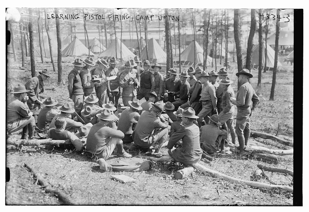 Learning pistol firing, Camp Upton (LOC)