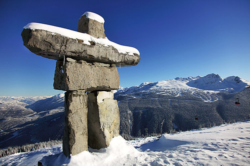 Inukshuk at Whistler Blackcomb Ski Resort, Whistler BC, British Columbia.