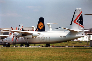 PH-KXO Fokker 50 20233 @ Woensdrecht 13 aug 1993 by J.Hetebrij