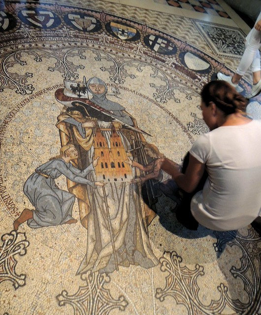 Admiring the mosaic on the floor by bryandkeith on flickr