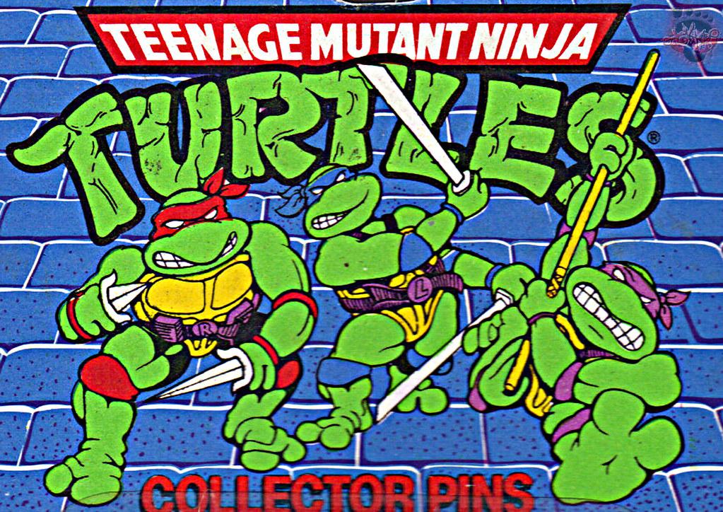 "ACE NOVELTY :: ""TEENAGE MUTANT NINJA TURTLES"" COLLECTOR PINS - No.3 'Shredder' // Card backer ii; TURTLE ART isolated (( 1989 )) by tOkKa"