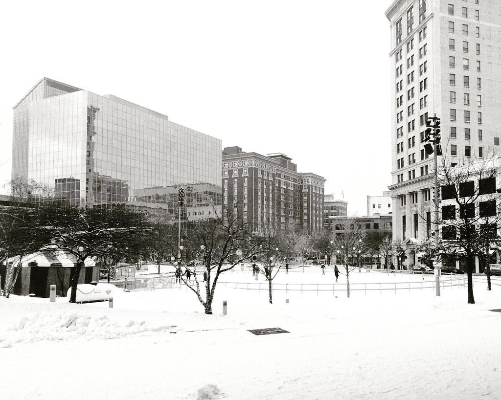 Ice Skating Rosa Parks Circle Black And White