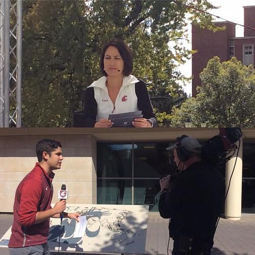@kalaechock & Blake Jensen from  KHQ Local News anchoring @wsu_foundation campaign celebration webcast #whatsnextwsu #WSU #GoCougs
