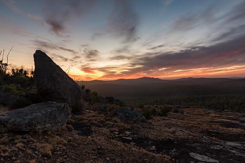 sunrise hiking camping