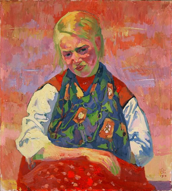 Giacometti, Giovanni (1868-1933) - La mano bruciata (Mädchen mit verbundener Hand), 1914