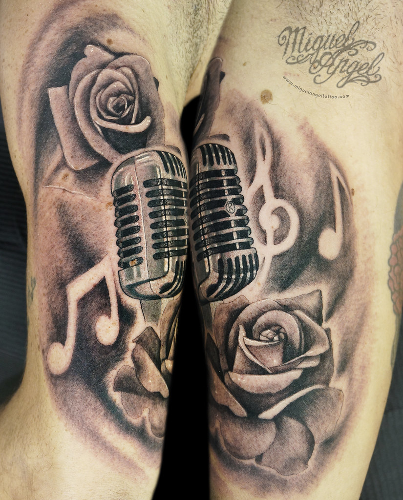 Vintage microphone, music notes and roses custom tattoo | Flickr