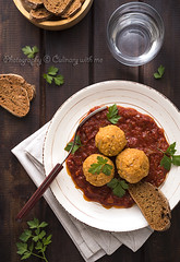 Spiced red lentil patties with tomato sauce