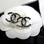 Chanel Earrings 紅紫 藍綠拼色漸層水晶 CC 耳環5