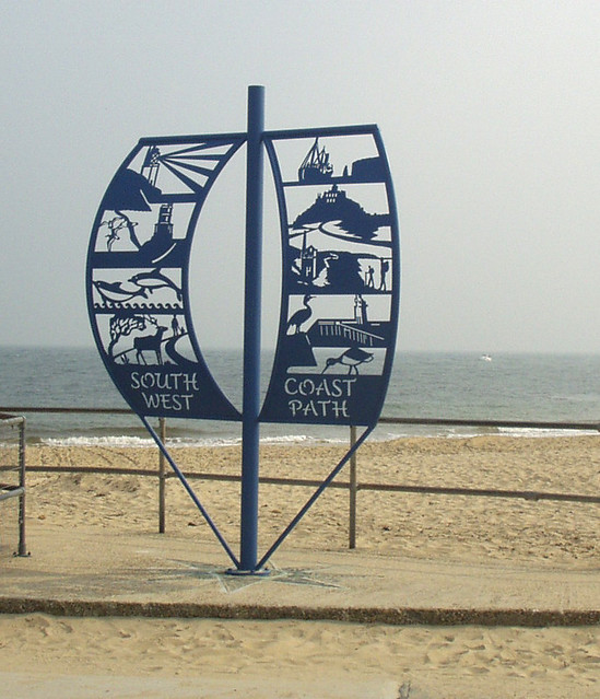South West Coast Path marker at Shell Bay