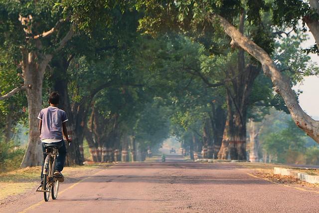 Road from Khajuraho to Orchha, India