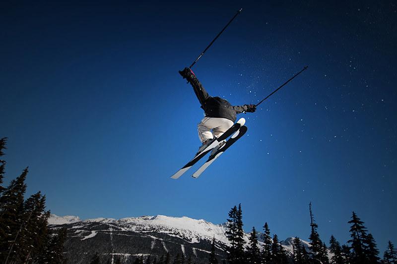 Blue Skies and Big Air at Whistler Blackcomb Ski Resort, Whistler BC, British Columbia.