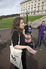 15 September  2016 - Copyright © Kevin Cooper Photoline NUJ: Mental health rights campaigners from different parts of the north including Belfast, Derry, Draperstown and Cookstown took their campaign to the steps of Parliament Buildings on Thursday 15 September 2016, along with MLAs and mental health charities, to call on the Minister of Health Michelle OâNeill MLA to increase funding for mental health services, as part of their #MoreDoughNeeded campaign. The Mental Health Rights Campaign group gave an Open Letter to the Health Minister calling for funding of mental health services in line with need. While mental health accounts for approximately 25% of health cases it currently receives only 8.5% of the health budget. The open letter was also supported by many MLAs including the Chair and Deputy Chair of the Health Committee, Paula Bradley MLA and Gary Middleton MLA as well as the Chair of the All Party Group on Mental Health Mark H Durkan MLA, who all attendance the #MoreDoughNeeded event. Campaigners held Unfair Share Cake 3 foot cake, individual cup cakes and an A1 size copy of the open letter. Mental Health Rights Campaigners told the Health Minister âmore dough neededâ.
