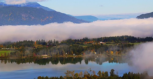 lake mirror fog dense valley cowichan quamichan water farm vancouver island british columbia reflections 500v20f