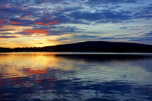 blue sunset lake clouds golden sweden